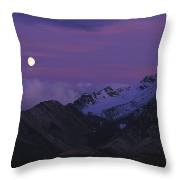 Moon Over Mountains Throw Pillow by Nick Norman