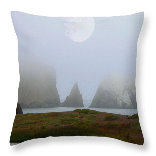 Moon Over Rodeo Beach Throw Pillow by Wingsdomain Art and Photography