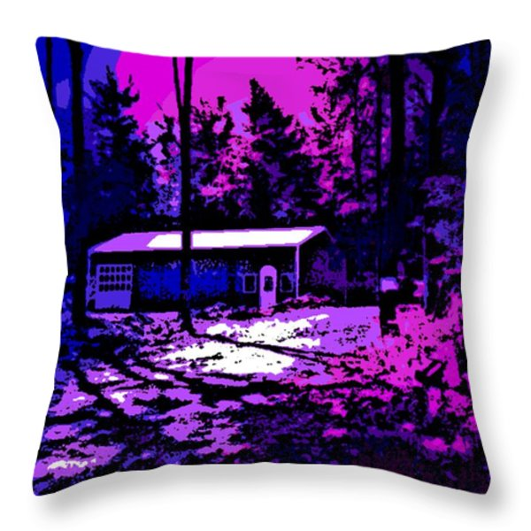 Moonlit Winter Night in the Poconos Throw Pillow by George Pedro
