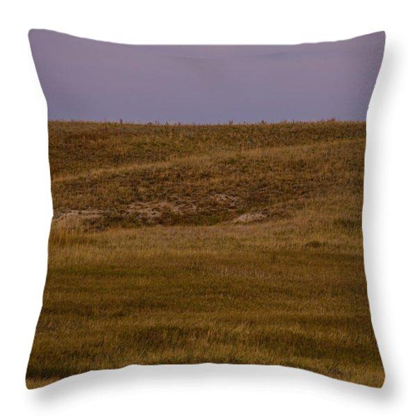 Moonrise Over Badlands South Dakota Throw Pillow by Steve Gadomski