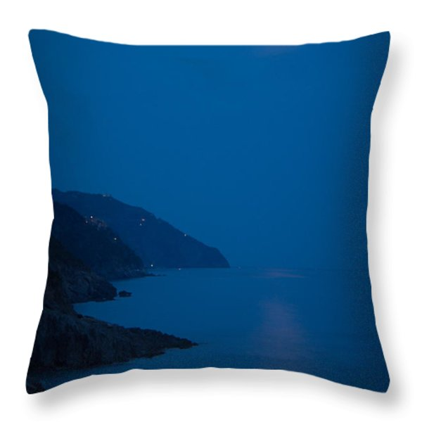 Moonrise Over Vernazza Throw Pillow by Doug Sturgess