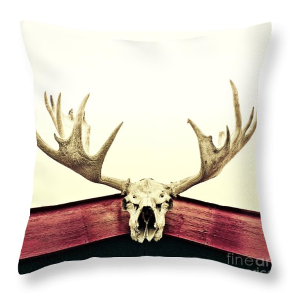 moose trophy Throw Pillow by Priska Wettstein
