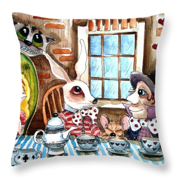More tea Throw Pillow by Lucia Stewart