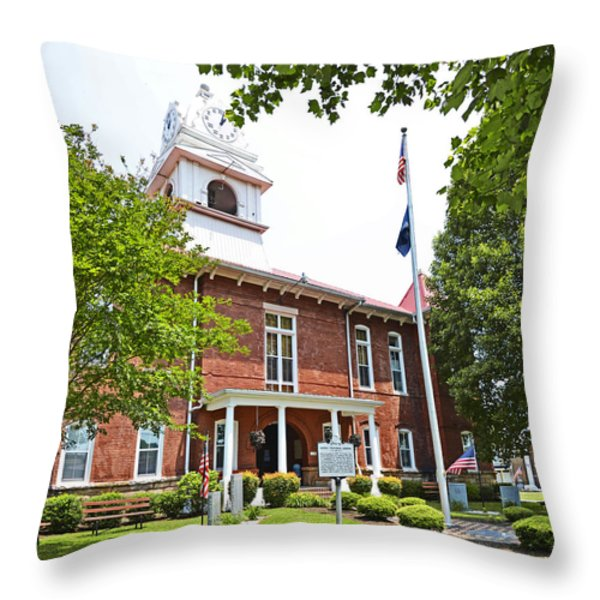 Morgan County Courthouse Throw Pillow by Paul Mashburn