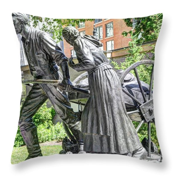 Mormon History - Hand Cart Statue Throw Pillow by Gary Whitton