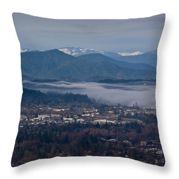 Morning Fog Over Grants Pass Throw Pillow by Mick Anderson