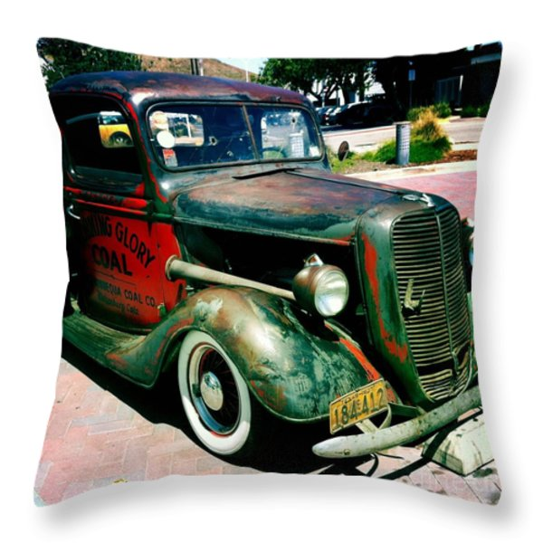 Morning Glory Coal Truck Throw Pillow by Nina Prommer