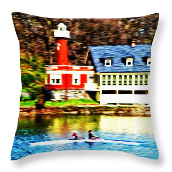 Morning On The Schuylkill River Throw Pillow by Bill Cannon