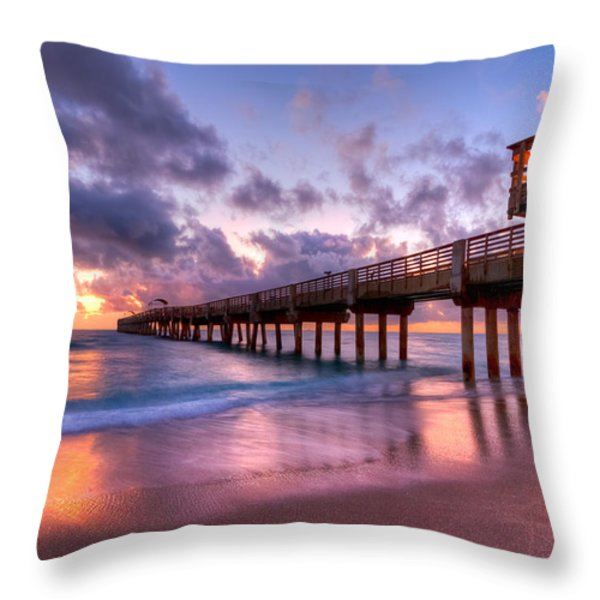 Morning Pier Throw Pillow by Debra and Dave Vanderlaan