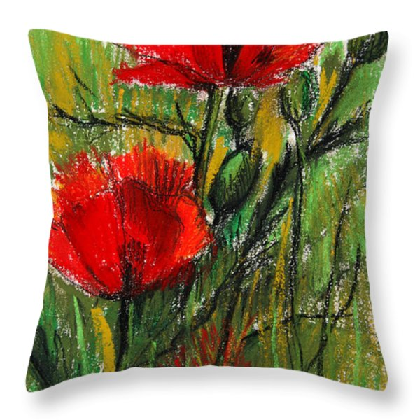 Morning Poppies Throw Pillow by Mona Edulesco