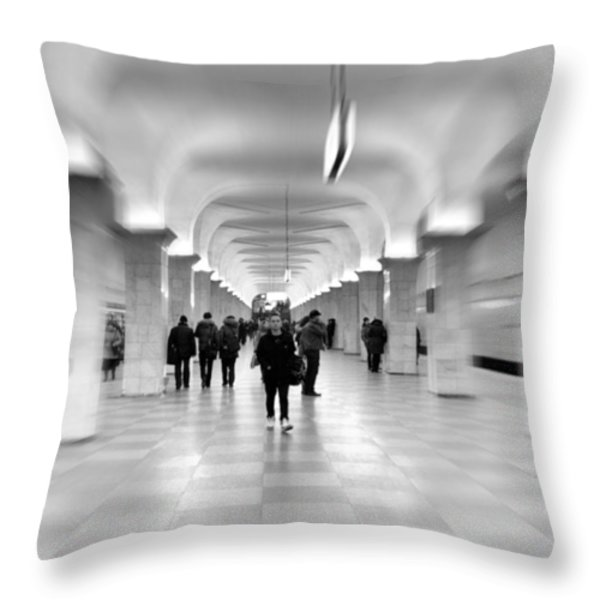 Moscow Underground Throw Pillow by Stylianos Kleanthous