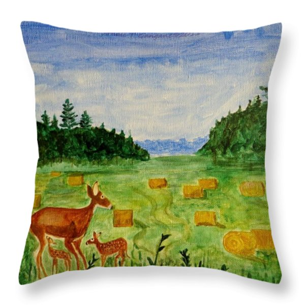 Mother Deer And Kids Throw Pillow by Sonali Gangane