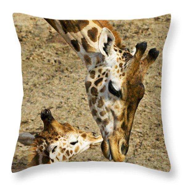 Mother giraffe with her baby Throw Pillow by Garry Gay