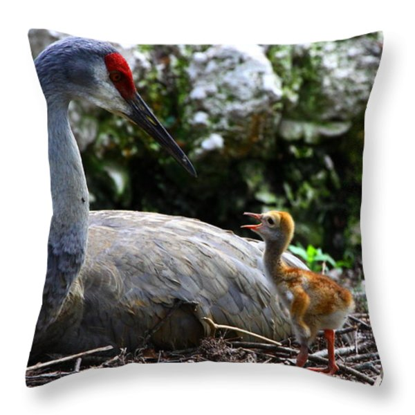 Mother Listening Throw Pillow by Barbara Bowen