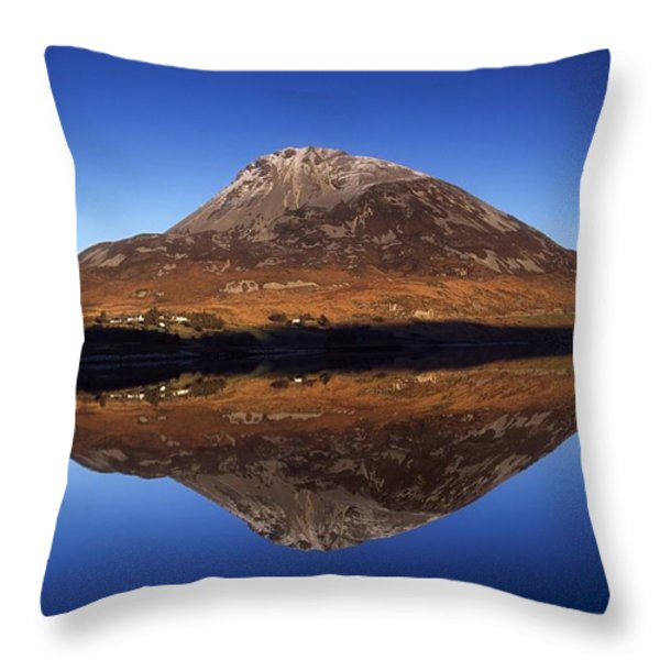 Mount Errigal, Lough Nacung, Dunlewy Throw Pillow by Gareth McCormack