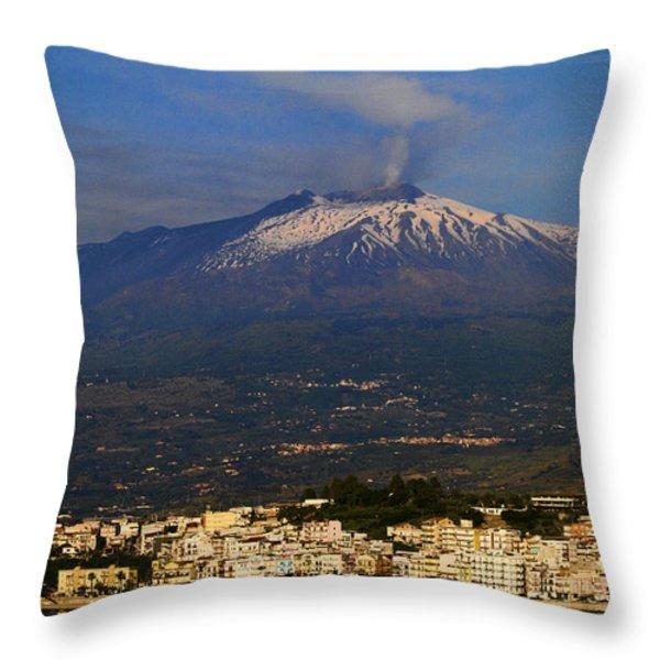 Mount Etna Throw Pillow by David Smith