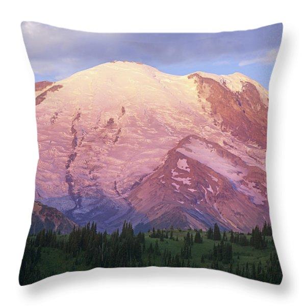 Mount Rainier At Sunrise Mount Rainier Throw Pillow by Tim Fitzharris