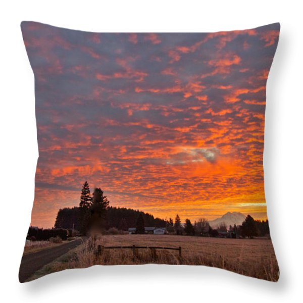 Mount Rainier Dawn Throw Pillow by Sean Griffin