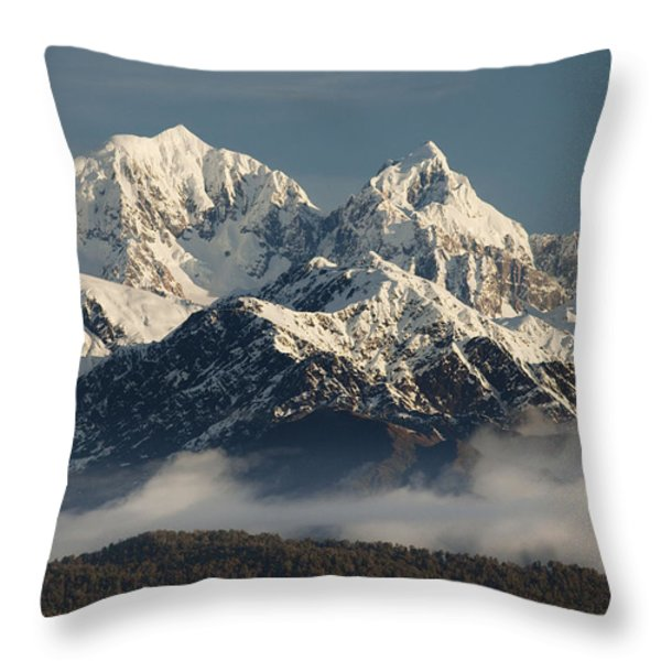 Mount Tasman And Mount Cook Southern Throw Pillow by Colin Monteath