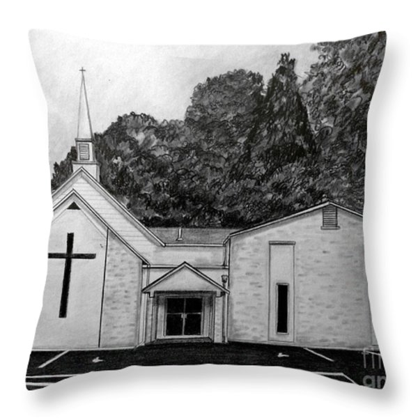 Mount Union Church Of The Brethren Throw Pillow by Julie Brugh Riffey