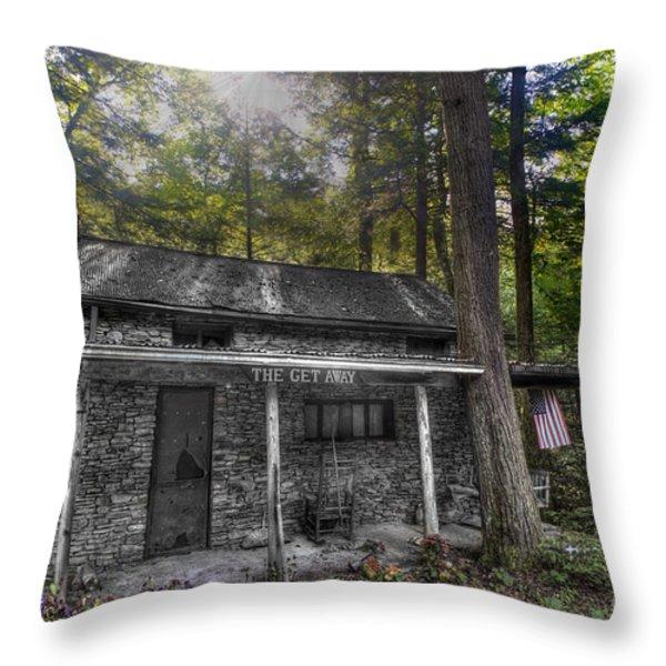 Mountain Cabin Throw Pillow by Dan Friend