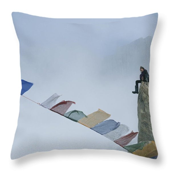 Mountain Climber Alex Lowe Sits Throw Pillow by Gordon Wiltsie