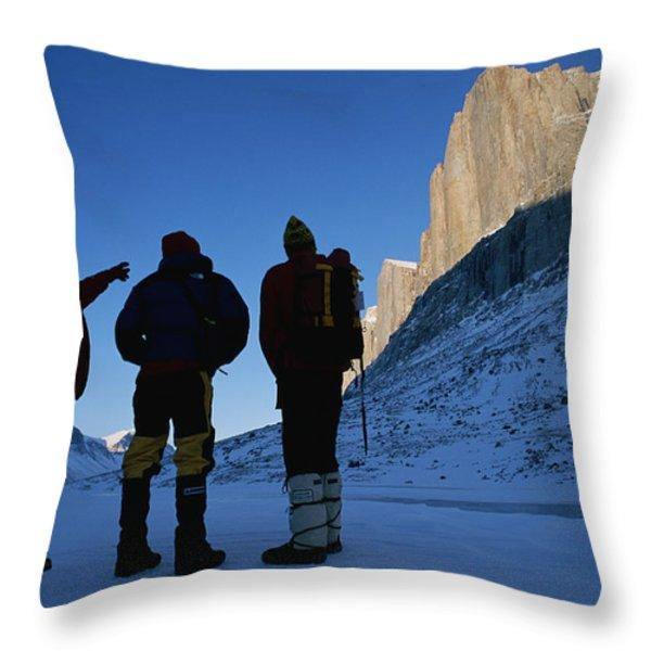Mountain Climbers On Frozen Stewart Throw Pillow by Gordon Wiltsie