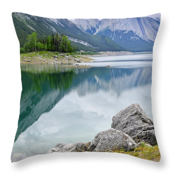 Mountain lake in Jasper National Park Throw Pillow by Elena Elisseeva