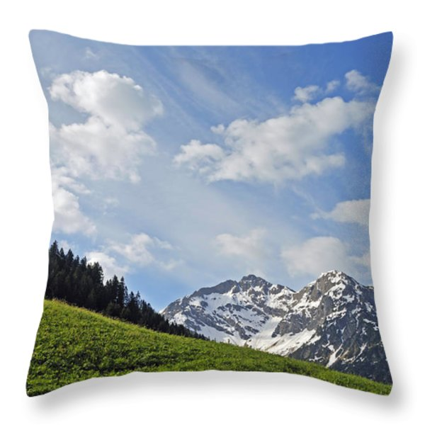 Mountain Landscape In The Alps Throw Pillow by Matthias Hauser