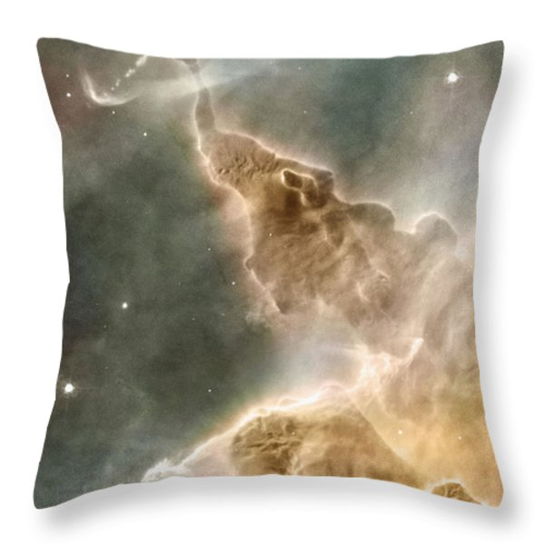 Mountain Of Cold Hydrogen Throw Pillow by Nasa