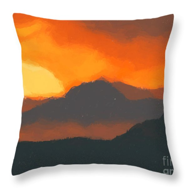 Mountain Sunset Throw Pillow by Pixel  Chimp
