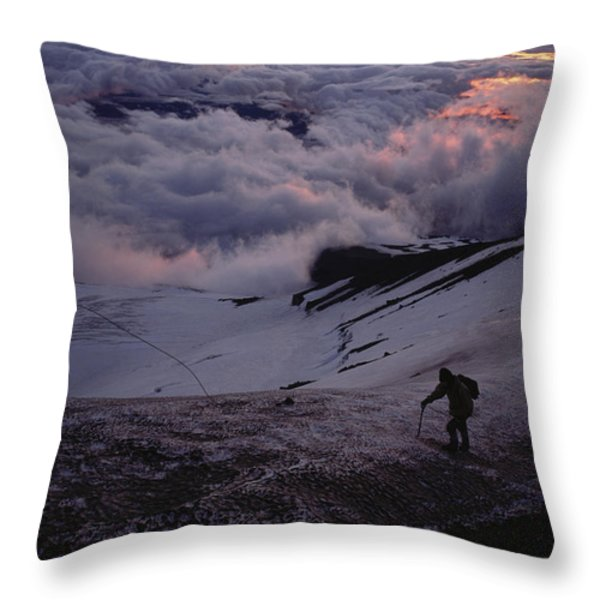 Mountaineers Cross A Snow Crusted Ridge Throw Pillow by Sam Abell