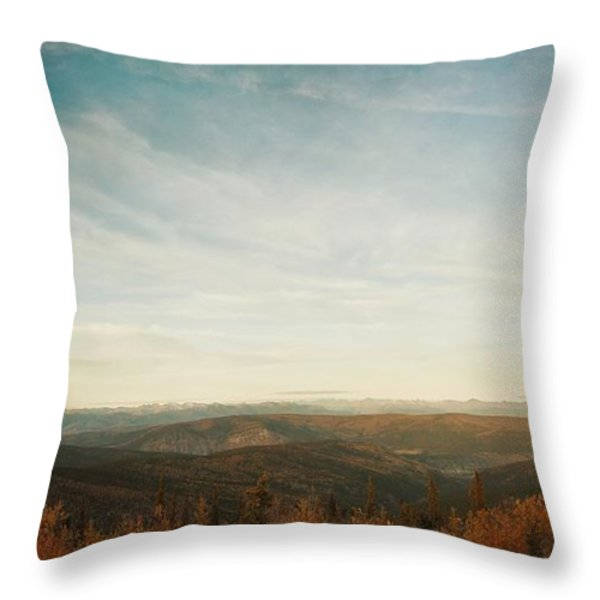 Mountains As Far As The Eye Can See Throw Pillow by Priska Wettstein