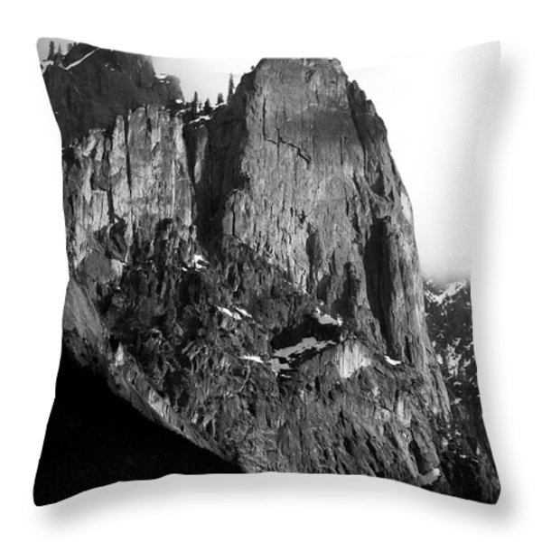 Mountains of Yosemite . 7D6167 . Vertical Cut . Black and White Throw Pillow by Wingsdomain Art and Photography