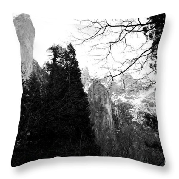 Mountains Of Yosemite . 7d6213 . Black And White Throw Pillow by Wingsdomain Art and Photography