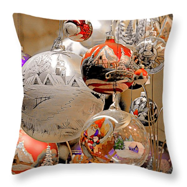 Mouth-blown hand painted Christmas Ornaments Throw Pillow by Christine Till