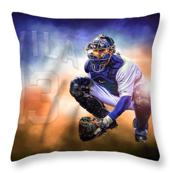 Mr. Alex Avila Throw Pillow by Nicholas  Grunas