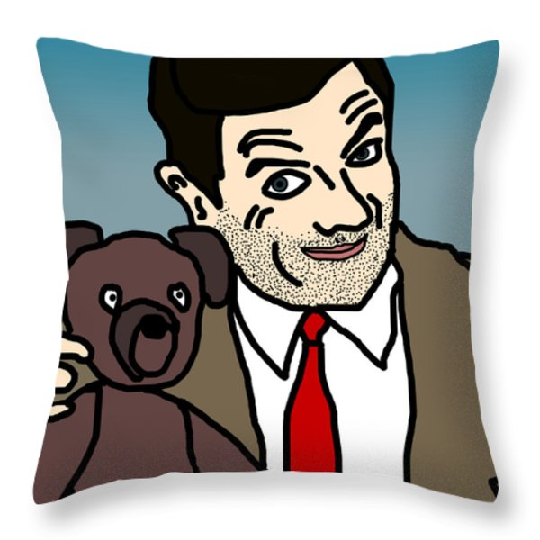 Mr Bean and Teddy Throw Pillow by Jera Sky
