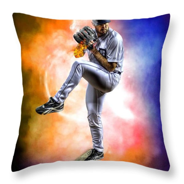 Mr. Justin Verlander Throw Pillow by Nicholas  Grunas