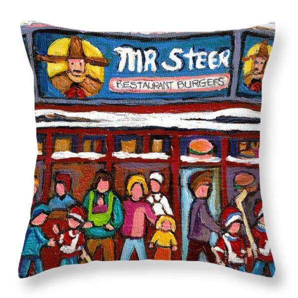 Mr Steer Restaurant Montreal Throw Pillow by Carole Spandau