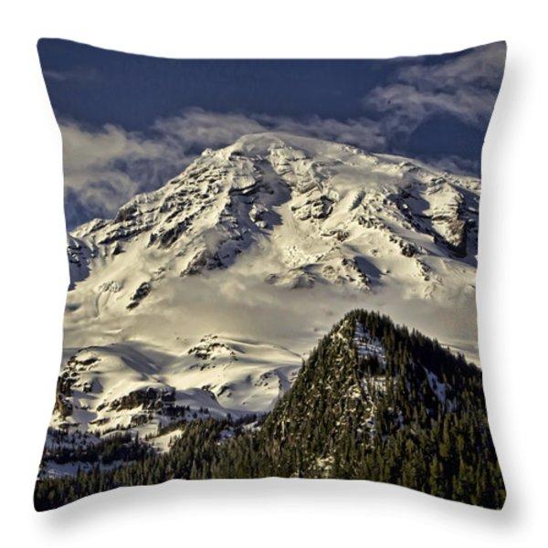 Mt Rainier Throw Pillow by Heather Applegate