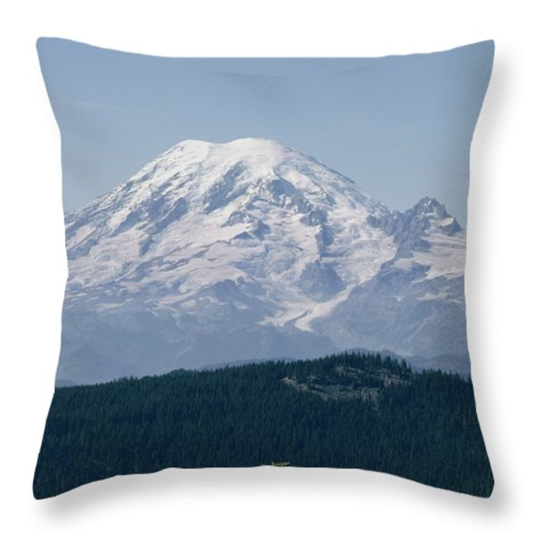 Mt. Rainier Seen From The Yakima Valley Throw Pillow by Sisse Brimberg