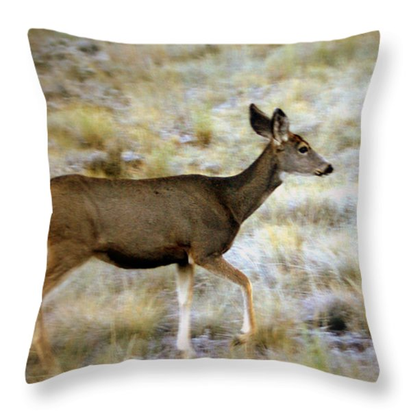 Mule Deer On The Move Throw Pillow by Marty Koch