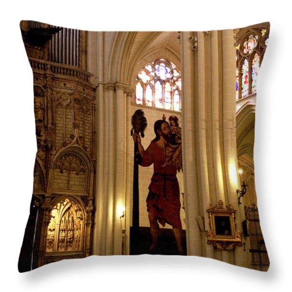 Mural of Saint Christopher and Baby Jesus Throw Pillow by Lorraine Devon Wilke