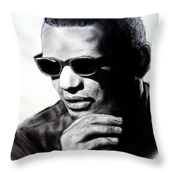 Music Legend Ray Charles Throw Pillow by Jim Fitzpatrick