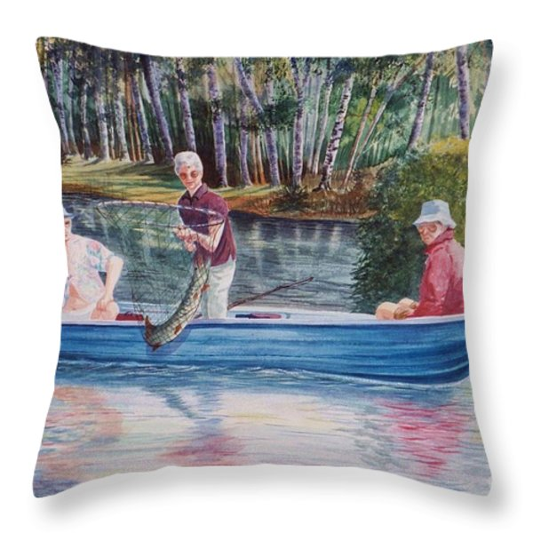 Musky Madness Throw Pillow by Marilyn Smith