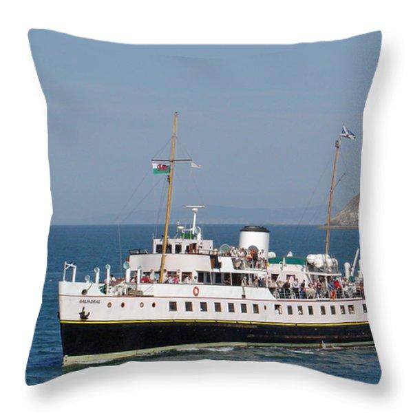 Mv Balmoral At Llandudno Throw Pillow by Rod Johnson