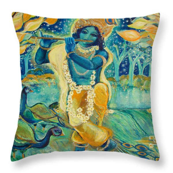 My Krishna Is Blue Throw Pillow by Ashleigh Dyan Bayer