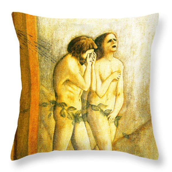 My Masaccio Expulsion Of Adam And Eve Throw Pillow by Jerome Stumphauzer