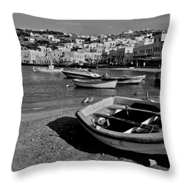 Mykonos Boats Throw Pillow by Eric Tressler